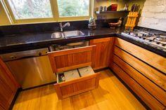 Stunning Japanese, timber kitchen. Under sink drawers. www.thekitchendesigncentre.com.au @thekitchen_designcentre
