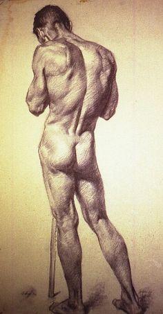 Alvin Gittins (born 1922 in Kidderminster, Worcester, England; died 1981 Salt Lake City, Utah), Male Nude, Back Turned, Holding Stick