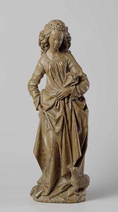 Saint Agnes, Adriaen van Wesel, ca 1470 - ca 1480 oak, stripped of polychromy, h 56.2cm × 19.0cm × D 9.5cm b.