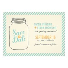 Vintage Mason Jar Wedding Save the Date Custom Invitations