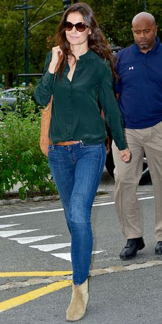 Love this skinny jean/bootie look....  Katie Holmes - Look of the Day - InStyle