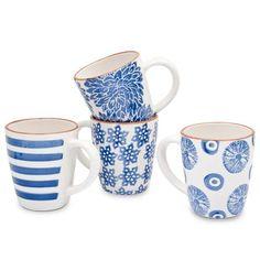 Blue Assorted Set of 4 Mugs | ACHICA