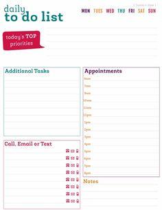 FREE Printable To Do Lists - Free Printable Daily To Do List Download