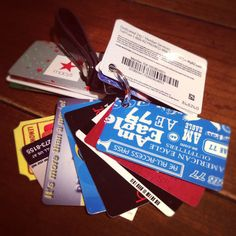 Great way to keep your loyalty and gift cards together without taking space in your wallet. Punch a hole in each card ( not on the magnetic strip) and add them to a key chain. They can easily be tossed into any purse. :)