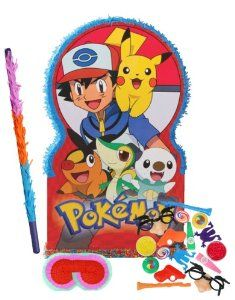 """Pokemon Giant Pinata Party Pack Including Pinata, Filler Favors, Buster and Blindfold by Pinata. $73.55. Includes (1) Pokemon Giant Pinata. 36""""H x 21""""W. Includes 64 Party Favors that includes tops, yo-yos, toy guns, kazoos, mazes and more in assorted colors. Caution: for children 3 years and up. Includes one hard Plastic Pinata buster that measures approximately 30"""". Caution: use only under adult supervision. Includes one Blindfold with Elastic String. Measures 7"""" long x 5.5"""" hig..."""