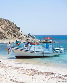 Mykonos, Greece, beach, ocean, boat / Garance Doré