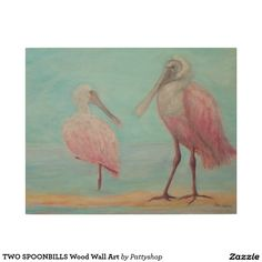 TWO SPOONBILLS Wood Wall Art
