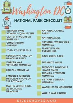 Washington DC National Parks Checklist hiking and backpacking, day hiking essentials, hiking funny National Mall, National Parks, Hiking Essentials, Hiking Checklist, Backpacking Tips, Washington Dc Vacation, Travel Usa, Beach Travel, Travel Light