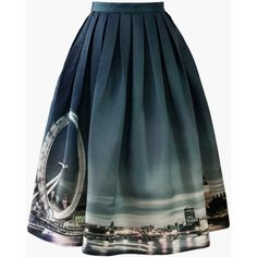 Chicwish Night Skyline of London Print Midi Skirt ($48) ❤ liked on Polyvore featuring skirts, bottoms, gonne, black, pattern skirt, print skirt, pleated skirt, calf length black skirt and pleated midi skirt