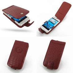 PDair Leather Case for Acer Liquid Gallant Duo E350 - Flip Type (Red/Crocodile Pattern)
