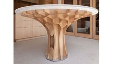 """Fantastic custom wood """"Cell Table"""" from architecture friend at Dirk Denison Architects."""
