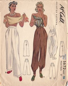 McCall 3672: Misses' slacks pants trousers color illustration print ad pattern brown white wide leg genie harem puff cuff ankle detail 40s War Era WWII