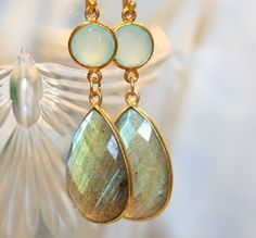 LABRADORITE AQUA CHALCEDONY earrings by thedesigncompany on Etsy, $66.00