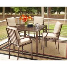 Hampton Bay Andrews 5Piece Patio Dining Set Table and chairs