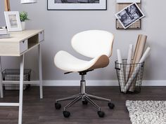 Brayden Studio This Rotterdam Desk Chair compliments every home office or any other workspace. With a thickly padded seat and backrest, accompanied by oak wood, this armless desk chair is the perfect spot for long work hours. Modern Swivel Chair, Swivel Office Chair, Mesh Office Chair, Modern Chairs, Modern Furniture, Rotterdam, Metal Folding Chairs, Chaise Bar, Estilo Retro