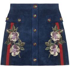 Gucci Embroidered Suede Skirt (7.570 BRL) ❤ liked on Polyvore featuring skirts, bottoms, gucci, saias, ready-to-wear, women, a line skirt, floral a line skirt, floral printed skirt and blue suede skirt