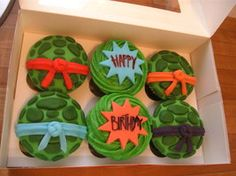 Bite into the shell of your favorite Teenage Mutant Ninja Turtle with these fun cupcakes