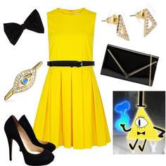 Bill Cipher *Gravity Falls* by pearl-marley on Polyvore featuring RED Valentino, Jimmy Choo, ALDO, Jules Smith, Bling Jewelry, PINK BOW and Jil Sander