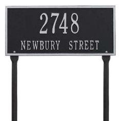 Address Plaque 16 x 7.5 inch Standard Lawn Aluminum- Hartford- Two Line