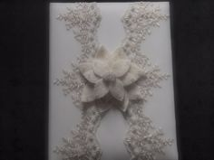 Memory Album Wedding Ivory Lace 70 flower colors & 44 glass bead colors available by ArtisanFeltStudio on Etsy, $48.00
