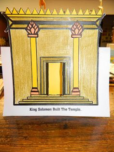 Craft idea - Solomon builds the temple. Print simple temple picture - cut around half the outline then fold paper in half to temple is standing up. Cut open doors and glue yellow cardboard behind.