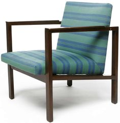 Edward Wormley; Walnut Lounge Chair for Dunbar, 1950s.  We have one of these with the original mustard upholstery on it.