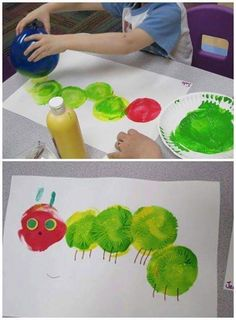 Balloon painting hungry caterpillar craft for kids! - Balloon painting hungry caterpillar craft for kids! Balloon painting hungry caterpillar craft for k - Kids Crafts, Daycare Crafts, Toddler Crafts, Arts And Crafts, Easter Crafts, Green Crafts For Kids, Quick Crafts, Craft Kids, Easter Art