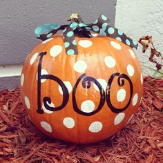 Painted pumpkin-  I did this on a smaller pumpkin and used an eraser dipped in painted for the polka dots.  After it dried, I just used a magic marker for the lettering.