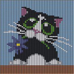 2 Adorable Kitty Cat Loom Beadwork Patterns - LARGE  #heartbeadwork #loombeading