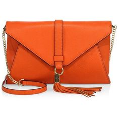 MILLY Astor Leather Clutch (€100) ❤ liked on Polyvore featuring bags, handbags, clutches, purses, accessories, orange, hand bags, leather hand bags, orange leather purse and leather envelope clutch