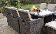With Free Delivery and a 30 day money back guarantee, click through to find out more about our CUBO 4 - Cube Dining Set with Footstools & Parasol Luxury Garden Furniture, Rattan Outdoor Furniture, Outdoor Furniture Design, Outdoor Decor, Boys Furniture, Furniture Showroom, Al Fresco Dining, Home Furnishings, Modern Design