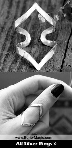 Chevron Ring Arthritis Ring Splint Knuckle Ring Adjustable Thumb Ring Sterling Silver Ring for Women Simple Geometric Ri Unique Silver Rings, Silver Wedding Rings, Sterling Silver Rings, Chevron Ring, Hippie Style, Triangle Ring, Bohemian Rings, Bohemian Jewelry, Wire Jewelry