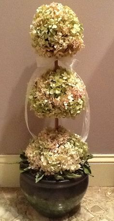 My Hydrangea topiary...after quite a bit of time and numerous hot glue burns later...this is my latest creation.  I love Hydrangeas...they bring back wonderful memories of childhood for me.  I have never made a topiary before and I am in L.O.V.E. with this little beauty...:)