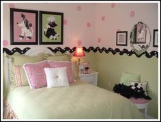 Girls Bedroom Ideas to create a beautiful room for your little girl!  Two different paint colors - polka dots on top