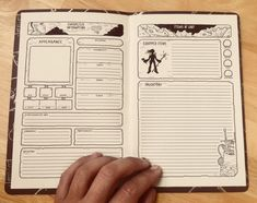 """Luke Howard on Twitter: """"Sup nerds, been workin on a custom D&D 5e Character Sheet (Book). They've even got an elastic cord binding so you can throw in new sheets when your DM kills you off.… https://t.co/K6LMYq8ruo"""""""