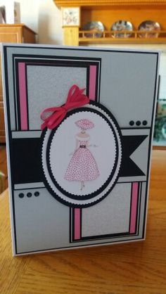 Birthday card for my cousin.  Used Tonic oval dies. Found lady image on the Internet and decoupaged it