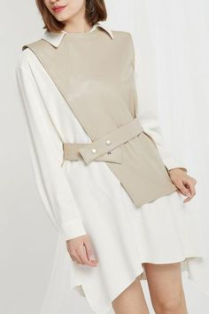 Knox Pleather Vest and Dress Set Hijab Fashion, Korean Fashion, Fashion Dresses, Maxi Dresses, Coat Dress, Shirt Dress, Dress Set, Fashion Details, Fashion Design