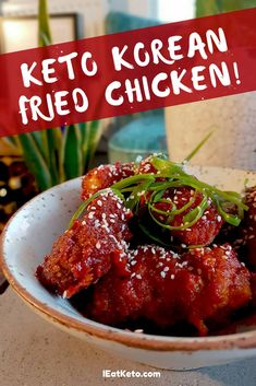 Keto Korean Fried Chicken This crispy, sweet and spicy Keto Korean Fried Chicken will make you forget you're on a diet. Only net carbs with all the crunch and flavour of the real thing, perfect for a ketogenic or low carb diet! These are great to share Low Carb Dinner Recipes, Keto Dinner, Lunch Recipes, Diet Recipes, Healthy Recipes, Healthy Foods, Keto Foods, Ketogenic Recipes, Low Carb Diet