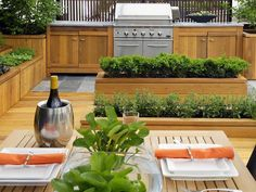 Great idea to grow your herbs and such right next to the outdoor cooking space.