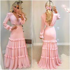 Pink Long sleeves Chiffon Prom Dress , Open Back Long Prom Dress CR 13620 Bridesmaid Dresses, Prom Dresses, Formal Dresses, Wedding Dresses, Different Fabrics, Dress For You, Ideias Fashion, Fashion Dresses, Chiffon