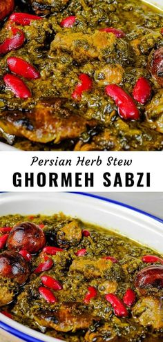 Ghormeh Sabzi is an amazingly delicious Persian stew of tender meat cooked with aromatic herbs, spi Soup Appetizers, Low Carb Appetizers, Appetizer Recipes, Dessert Recipes, Appetizer Ideas, Lamb Recipes, Cooker Recipes, Vegetarian Recipes, Healthy Recipes