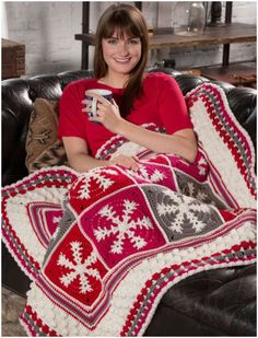 Snowflakes Crochet Throw Free Pattern