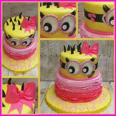 Minion Birthday Cake Girl minion party Pink minion Cute pink Bow