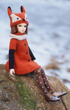 Lovely #outfit for #Minifee #Fox #MSD, Dolls fox #hat, outfit for Doll #BJD, #Coat Angora wool #cardigan, #Unoa, for #iplehouse #JID, for #Kaye #Wiggs