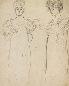 transistoradio:  Gustav Klimt (1862-1918), Two Studies of a Singing Girl (c.1896), pencil on card, 31.7 x 39.5 cm. Via Sotheby's.