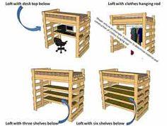 Make a bunk / loft bed with desk underneath, bed underneath, shelves ...