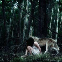 Imagem de girl, wolf, and forest