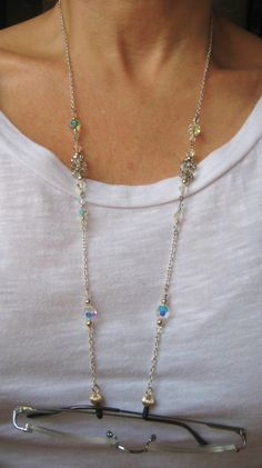 Aso available with eyeglass loop instead of elastic ends as shown in listing for Eyeglass Chain with Swarovski Crystals and Rondelles. Wire Jewelry, Beaded Jewelry, Jewelery, Handmade Jewelry, Beaded Necklace, Beaded Bracelets, Necklaces, Glass Necklace, Eyeglasses