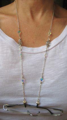 Eyeglass chain with Swarovski crystals
