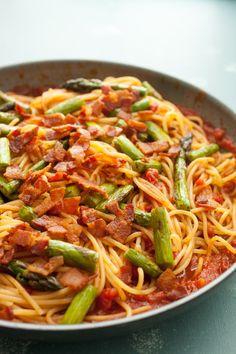 Bacon Asparagus Spaghetti